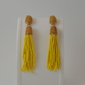 Yellow Beaded Tassle Earrings - Gold Mesh Post